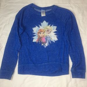 DISNEY FROZEN GIRLS SEQUIN LONG SLEEVE TEE SZ L